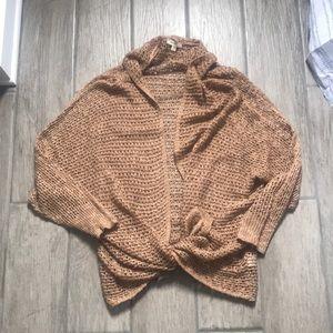 Dark peach open knit cardigan